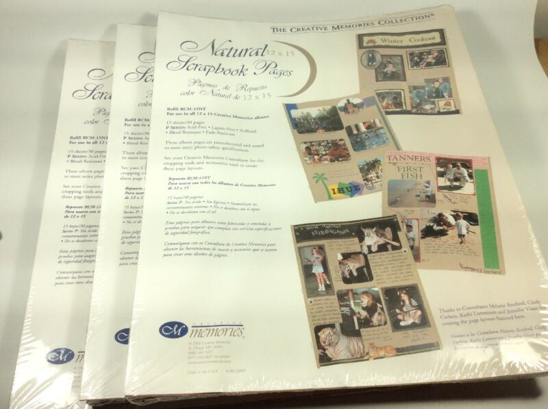 3 Packages Creative Memories 12 x 15 Natural Refill Pages RCM-15NT