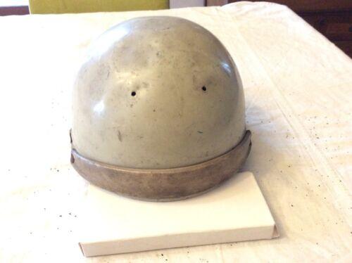 Ancien casque forme bol moto  geno paris métal cuir solex vespa déco vintage