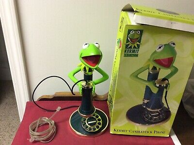 Nice Kermit The Frog Candlestick Phone Working Jim Henson Collection