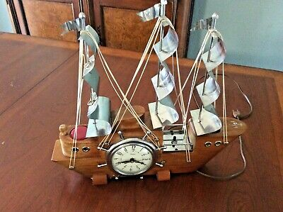 VTG SESSIONS UNITED WOOD & CHROME LIGHTED OLD SAILING SHIP MANTEL CLOCK WORKS