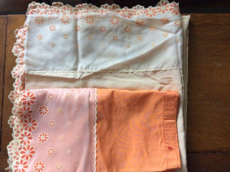 Vintage 1960s~Sheer Trim~Panel Shower Curtain W/ Valance Retro Mod Shabby🧡🧡🧡