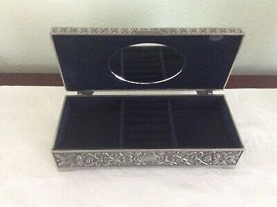 VINTAGE RETRO EMBOSSED PEWTER / SILVER COLOURED METAL JEWELLERY / TRINKET BOX for sale  Shipping to South Africa