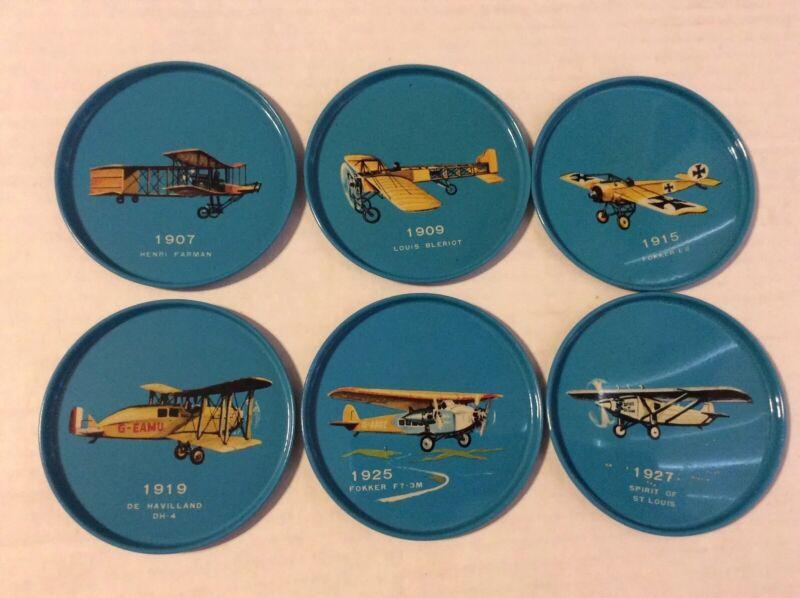 "Lot of 6 Vintage Blue Tin Metal 3"" Coaster w/ Vintage Airplanes Made in Japan"