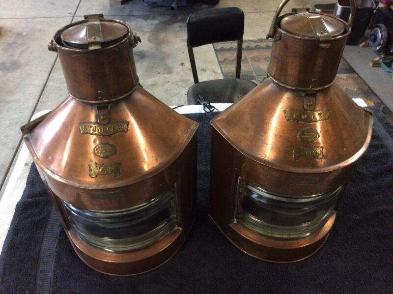 Antique Original Pair R C Murray Copper Ship Lamps. Maritime.