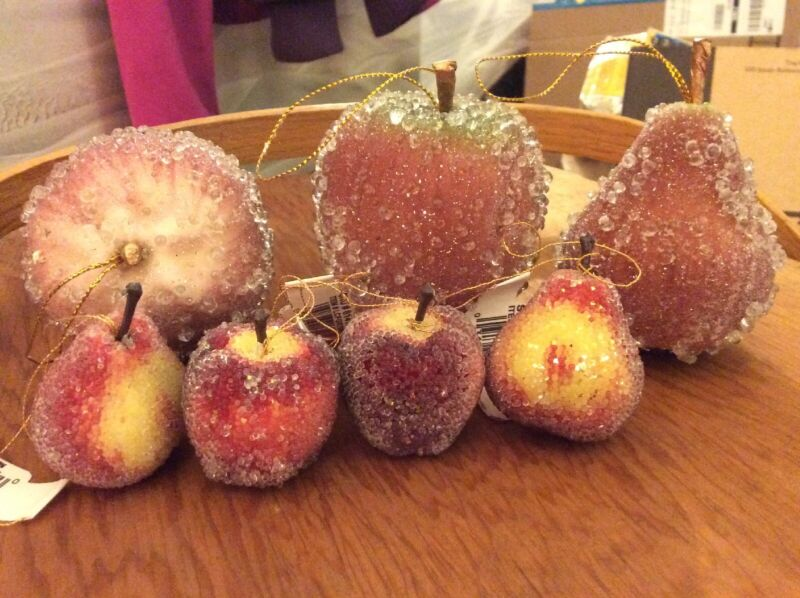 Vintage Sugar Frosted Fruit Ornaments Lot Of 25