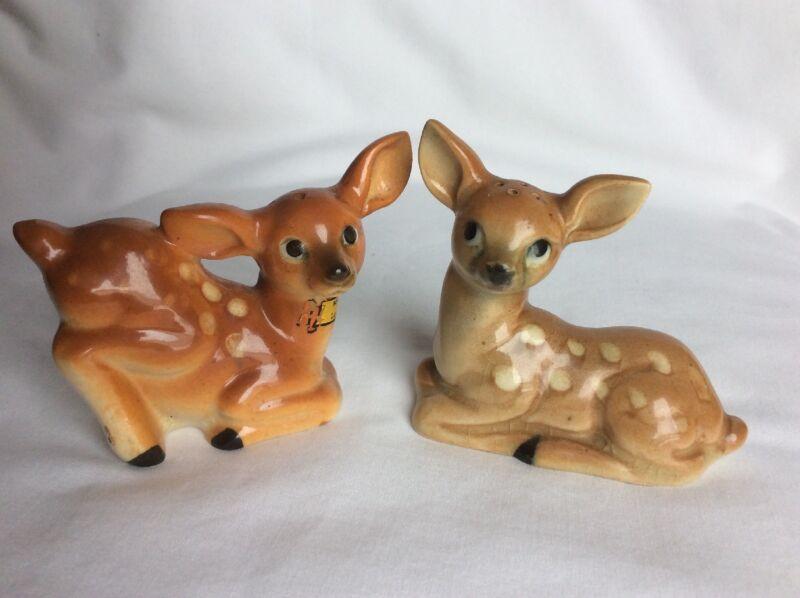 Vtg ceramic deer/fawn salt & pepper shakers souvenir of Laurel, Montana Japan B6