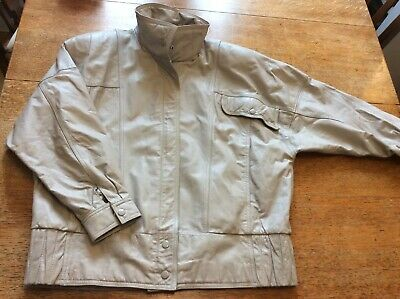 leather jacket Size 14 Stone Beige Grey 1980/90's Style