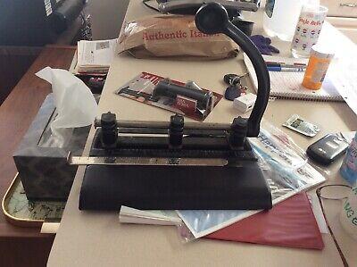 Vintage Master Products Heavy Duty 3 Hole Punch Adjustable Model 1325 Black Usa