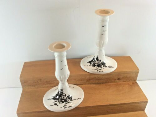 "Vtg Bering Sea Originals  Alaska Artist Signed 5.75"" Pr.of Candlestick Holders"