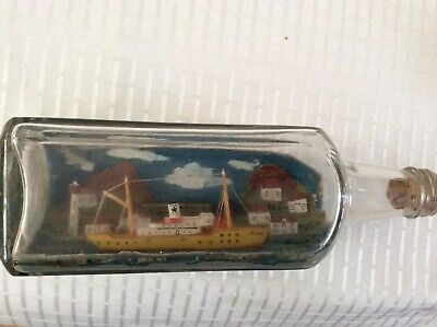 Vintage Handmade Hand Painted Ship In A Bottle With Coastline, Train & Village.