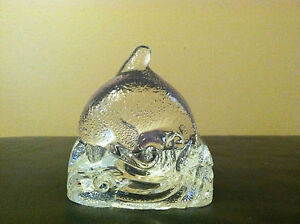 PARTYLITE-CLEAR-GLASS-DOLPHIN-JUMPING-WAVES-TEALIGHT-VOTIVE-CANDLE-HOLDER