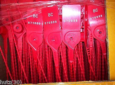1000 x Plombierverschlüsse  SETON Plombierverschluß 250mm laufende Nummern NEU