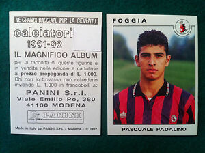 CALCIATORI-1991-92-1992-n-129-FOGGIA-PADALINO-Figurine-Panini-con-velina