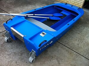 Blue Catamaran Spindrift Dinghy with Fold up Wheels