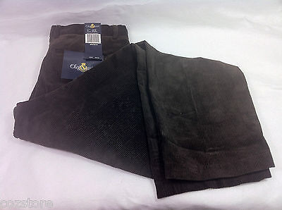 Oleg Cassini Brown Corduroy Casual Pants Cotton Blend Wide Leg Size 40 X 30 31
