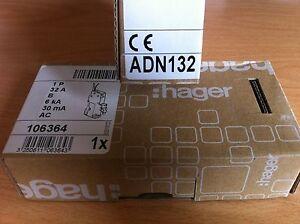 Hager 32 amp 32a RCBO ADN132 30ma MCB/RCD B Type 6kA 106364 New
