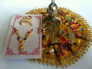 LORD KRISHAN LADU GOPAL JI KANIHA BAL KRISHNA MINI STATUE WITH DRESS & MUKUT