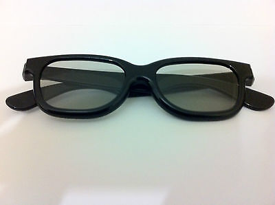 2 Pairs of high Quality 3D Passive 3D Glasses. Black for 3D TV LG's etc RealD