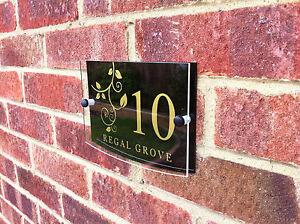 details about modern house sign door number address gold black