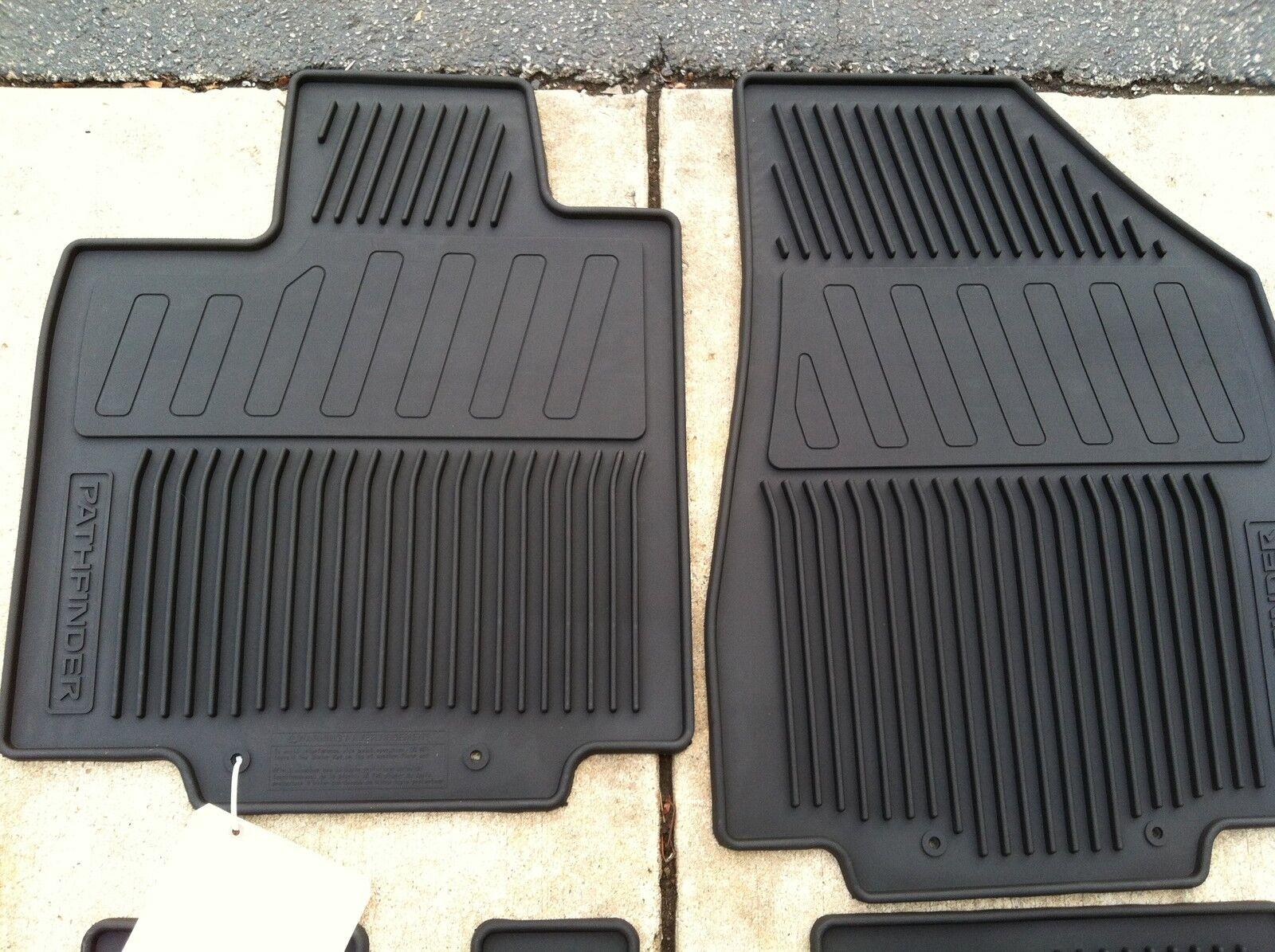 Rubber floor mats nissan pathfinder 2013 -  New Oem 2013 2017 Nissan Pathfinder Black 4pc Rubber All Weather Floor Mats