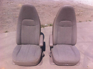 1997-2013 OE GM CHEVY EXPRESS GMC SAVANA VAN TAN CLOTH CARGO VAN BUCKET SEATS