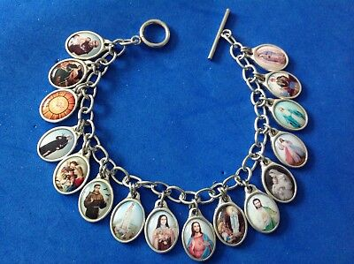 Rare Custom Design Color Saint Medal Charm Bracelet Lot Stainless Steel - Customized Medals