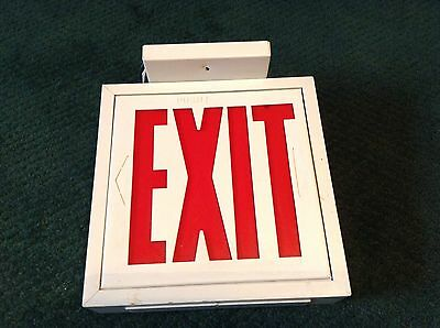 Vintage Lighted Exit Sign Top Mounted With Wires 9 14 X 8 12