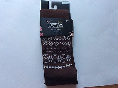 1 PAIR LADIES SWEATER TIGHTS BY CHINESE LAUNDRY  *  BROWN* SZ ML * NIP - Brown Sweater Tights