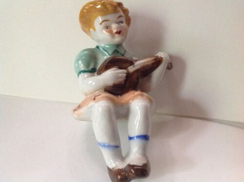 Vintage hand painted little girl figurine * Seated and playing a guitar * JAPAN