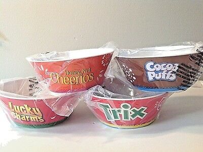 General Mills Cereal Bowls NEW Cheerios, Trix, Cocoa Puffs, Lucky (General Mills Cocoa)