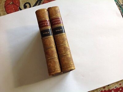 Whittier Poetical Works 1864  2 Vols  Complete  Full Calf Binding  Gilt  Marbled