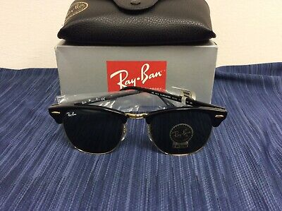 Ray Ban RB3016 W0365 Clubmaster Black Sunglasses Green G-15 Lens (Ray Ban Rb3016 W0365)