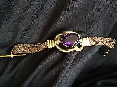 Victorian Mourning Bracelet Hair Pinchbeck? Rolled Gold ? Huge Amethyst Glass