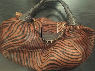 Fendi Spy Bag Animal Print Leather Hobo Medium Purse Leather Print Hobo Bag