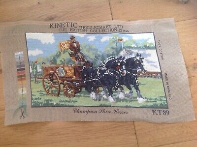 Vintage KINETIC NEEDLECRAFT Tapestry Embroidery Champion Shire Horses 1996