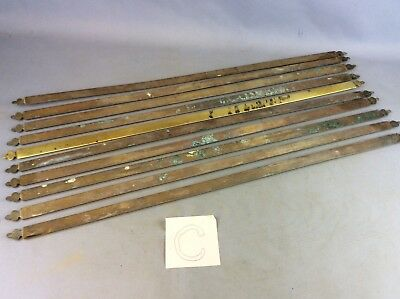Set Of X 10  Reclaimed Edwardian Brass Stair Rods Fleur De Lis Trefoil