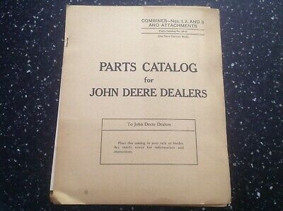 John Deere No. 1 2 And 3 Combines Attachments Parts Catalog 55-h Vintage