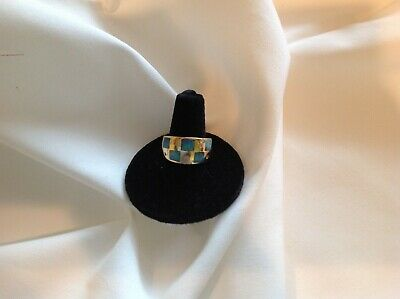 Band Ring,14k Gold,  Ocen Blue colored Opal stones & Diamonds Inlay Design