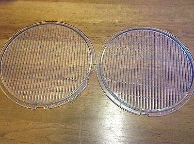 "OLD Clear Glass HEADLIGHT 9 1/4""  x 8 1/2"" Vintage PAIR Head LIGHT Lens Lamp"
