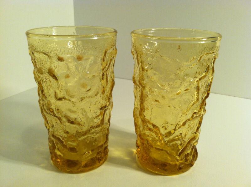 VINTAGE SET OF 2 ANCHOR HOCKING LIDO MILANO DESERT HONEY CRINKLE JUICE GLASSES