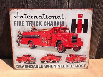 International Fire Truck Chassis Sign Tin Vintage Garage Bar Decor Old Rustic for sale  Nipomo