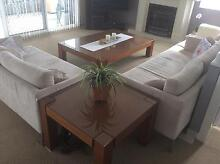 Solid timber with glass top coffee table + side table West Ryde Ryde Area Preview
