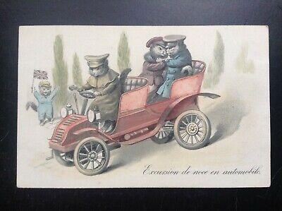 Carte postale fantaisie chat humanisés antropomorphisme excursion