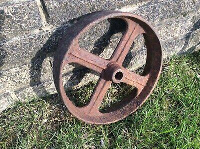 Single heavy good quality vintage antique cast iron wheel