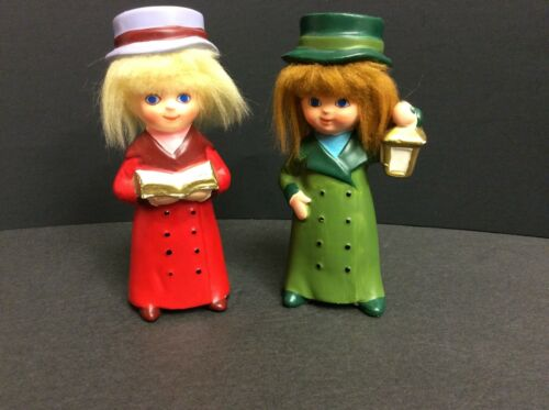 """Two NAPCOWARE Holiday Caroler figurines 4-1/2 """" with faux hair X-7974"""