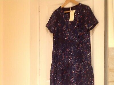 Selected Femme Blue Patterned Dress Sz 10 Bnwt