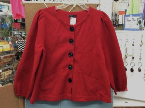 WOMENS SIZE LARGE ANNE KLEIN BUTTON SWEATER RED