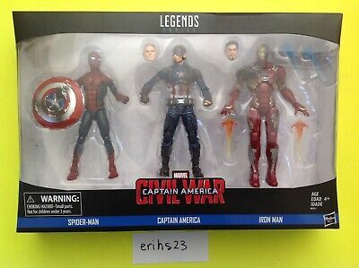 Marvel Legends Captain America Civil War 6' Figure 3 pack Iron Man Spider-Man