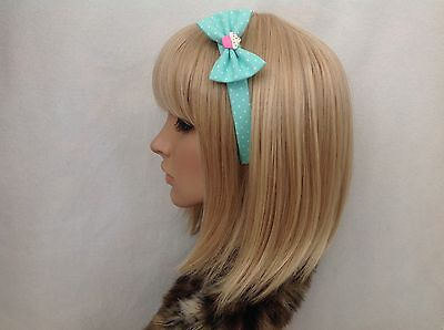 Pastel mint green white polka cupcake headband hair bow rockabilly pin up girl - Cupcake Headband