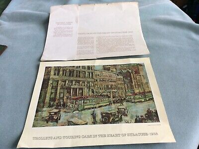 LITHOGRAPH OF TROLLEYS & TOURING CARS IN SYRACUSE BY ONONDAGA SAVINGS BANK